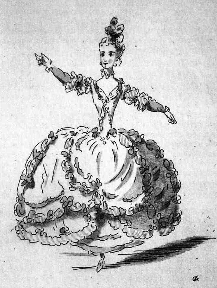 Эскиз балетного костюма. Худ. Л.-Р.Боке, 1749.