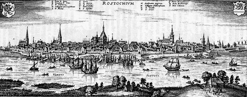 Панорама Ганзейского города Ростока. Из книги Mattheus Merian. Topographia Saxonia Inferioris. 1653.